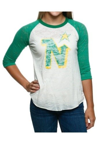 North Stars Retro Logo Juniors Raglan Shirt