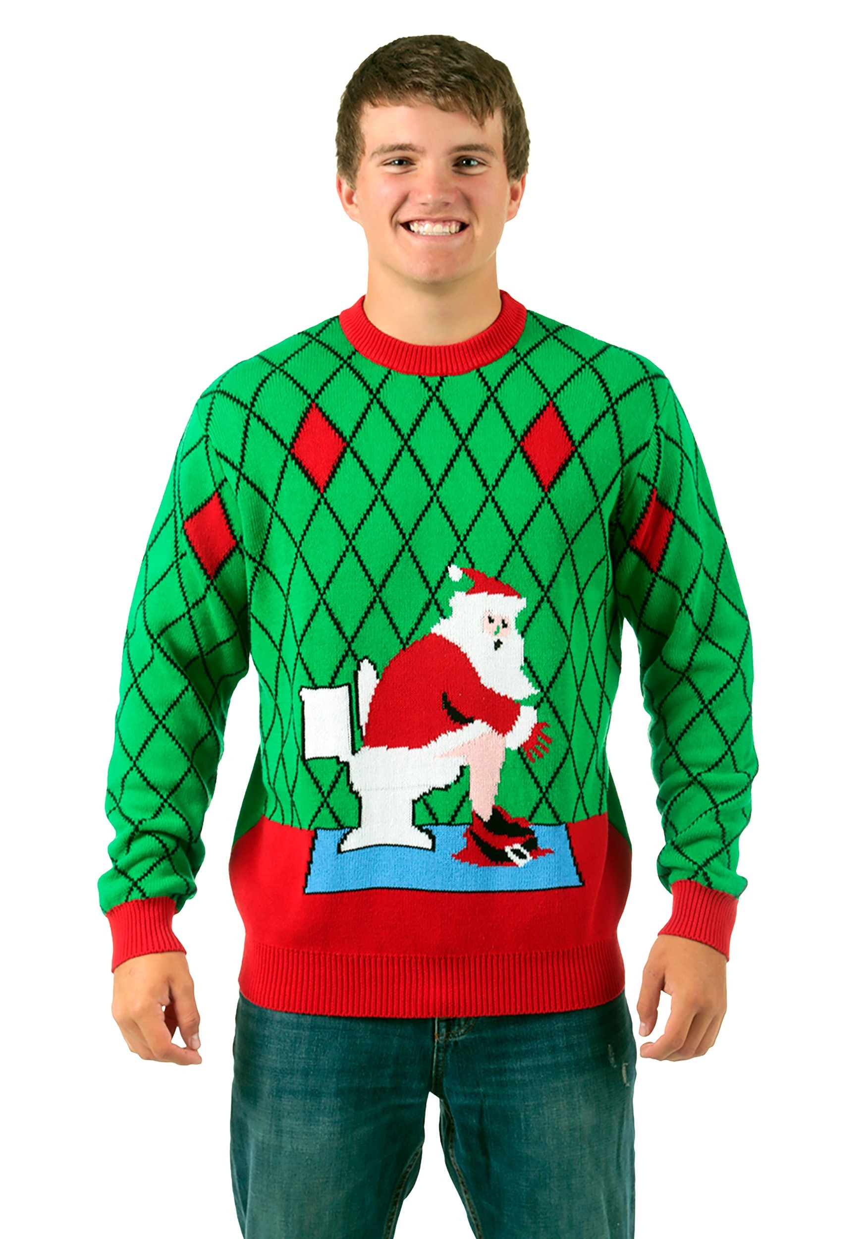 toilet santa ugly christmas sweater - Cheap Mens Ugly Christmas Sweater