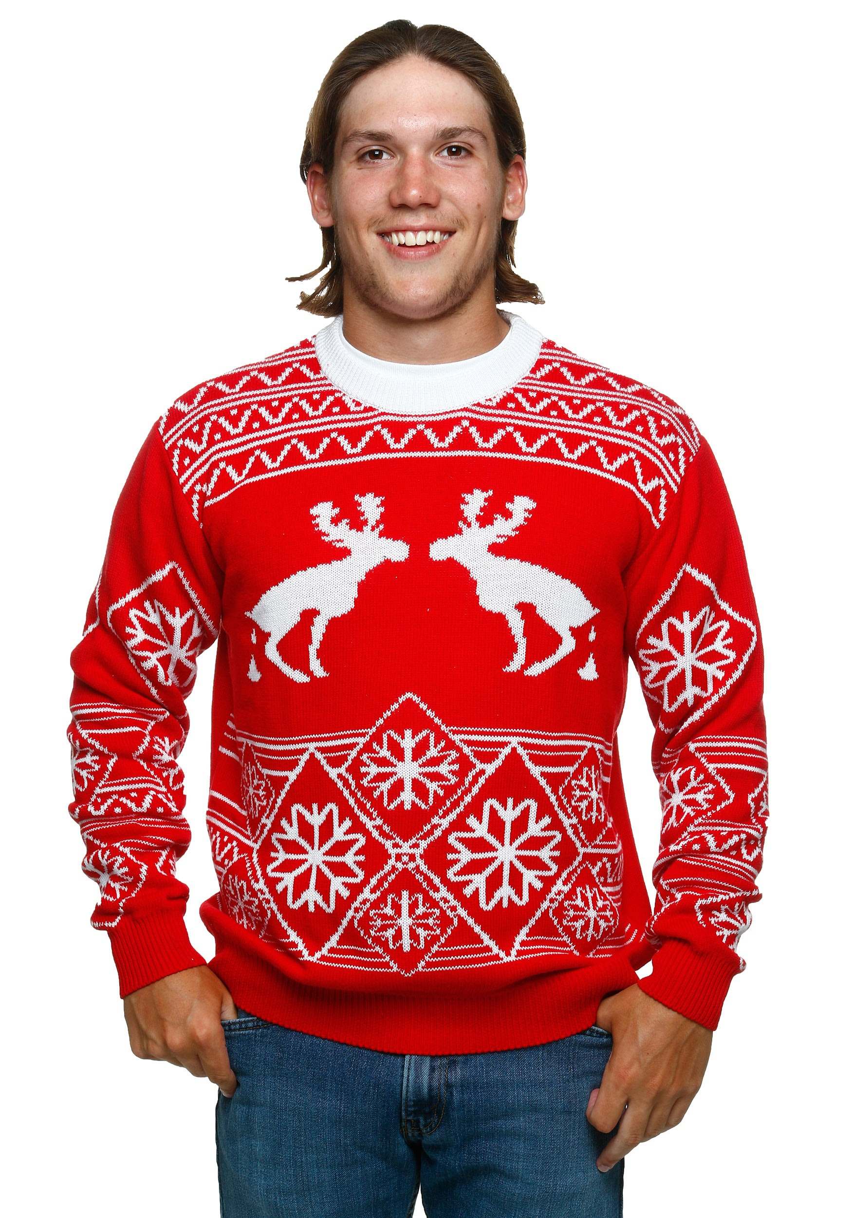 Funny Christmas Sweater.Pooping Moose Ugly Christmas Sweater