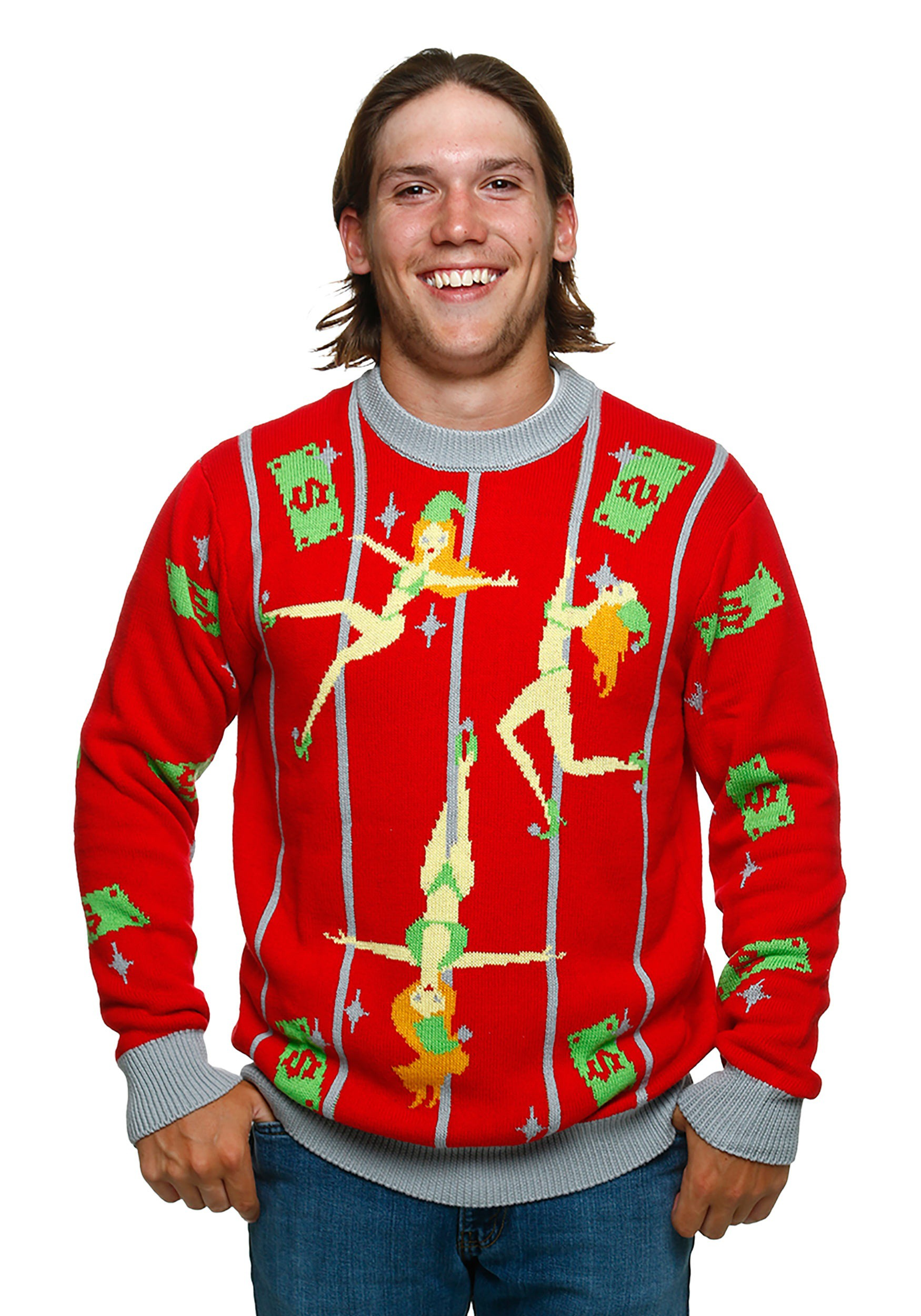 pole dancing elves ugly christmas sweater - Cheap Mens Ugly Christmas Sweater