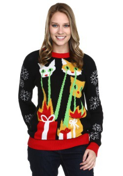 Laser Cat Zillas Adult Ugly Christmas Sweater