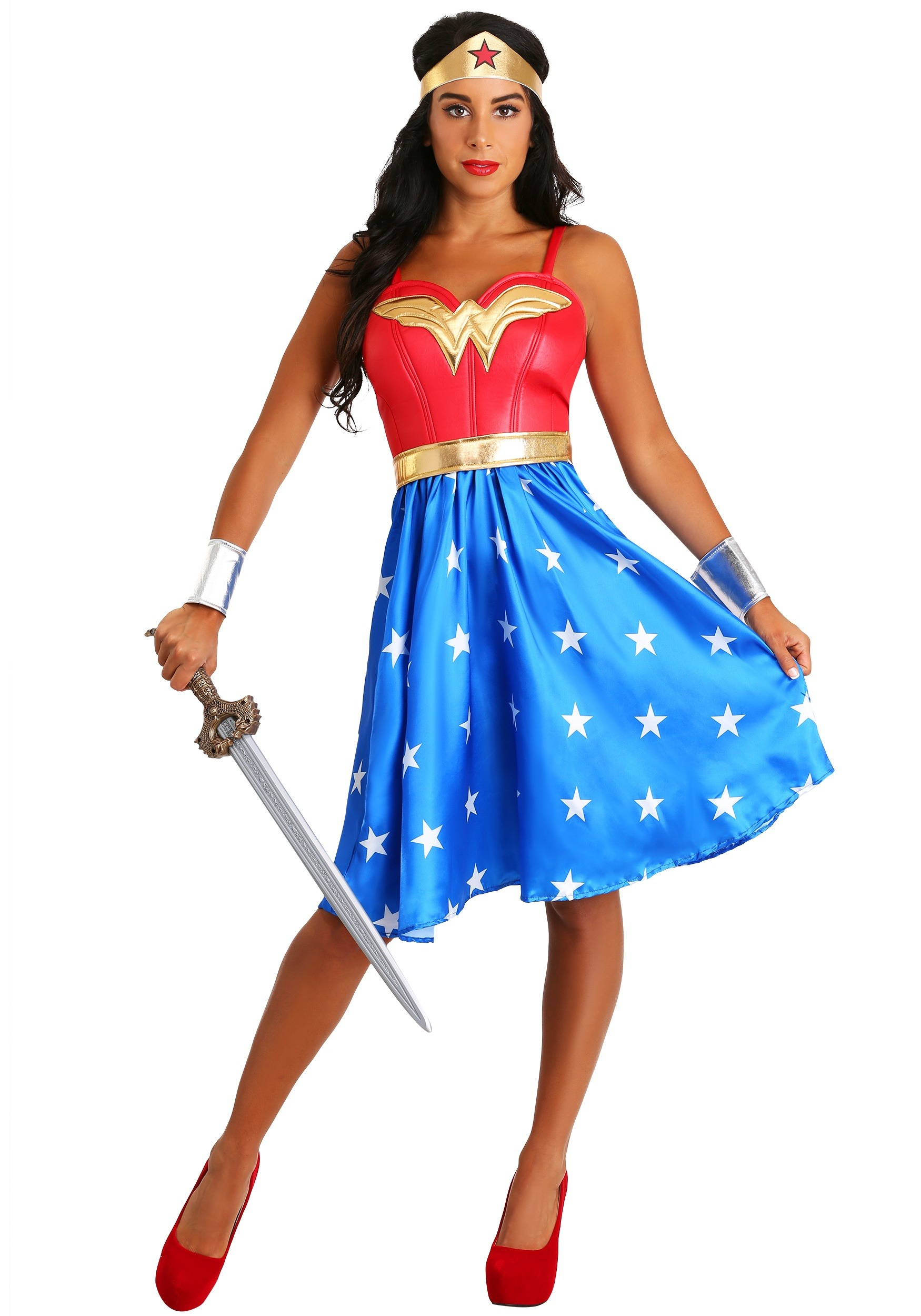 Deluxe Long Dress Wonder Woman Plus Size Costume  sc 1 st  Fun.com & Deluxe Long Dress Wonder Woman Costume for Plus Size