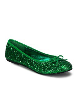 Women's Kelly Green Glitter Flats