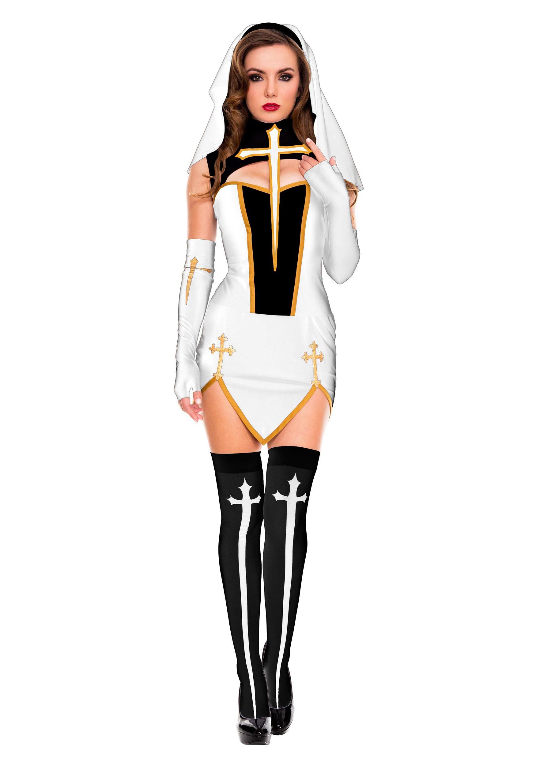 0b502cfe534 White Bad Habit Nun Womens Costume
