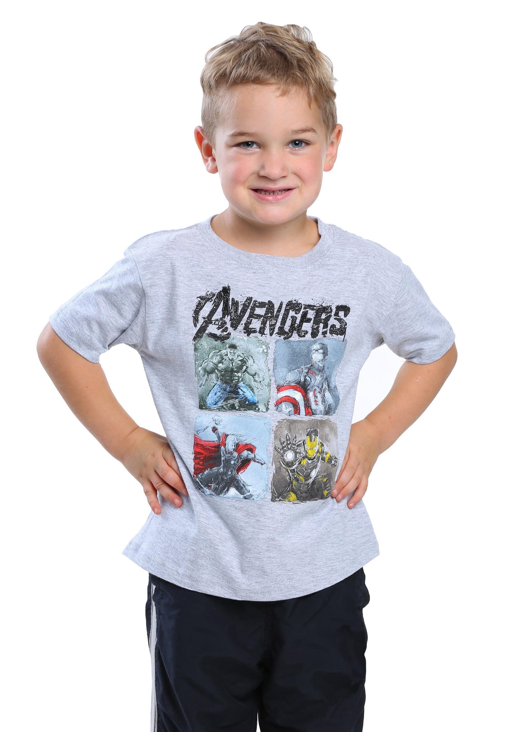 Toddler Boy Long Blonde Hair Surfer: Avengers Scratch Plates Toddler Boys Heather Grey T-Shirt