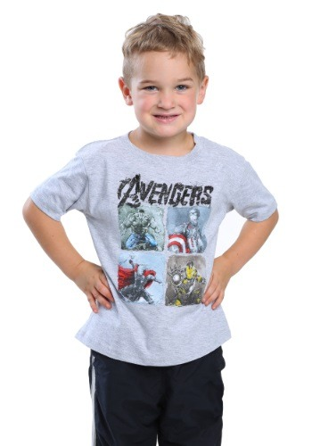Avengers Scratch Plates Toddler Boys Heather Grey T-Shirt