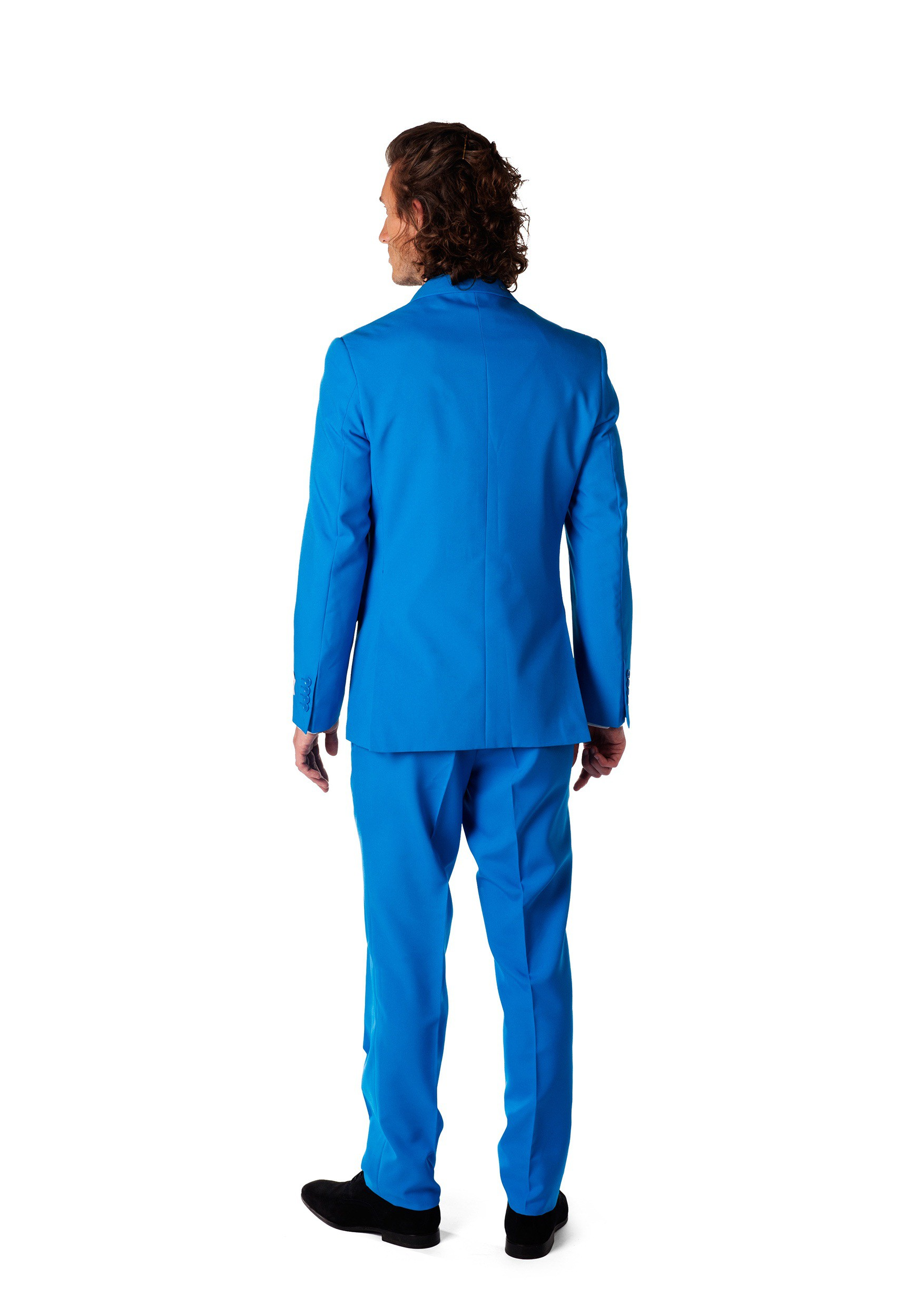 OppoSuits Solid Color Party Suits for Men Blue Steel Jacket And Tie Abito da Uomo Full Suit: Includes Pants