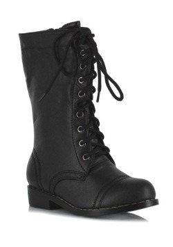 Kid's Black Military Boots