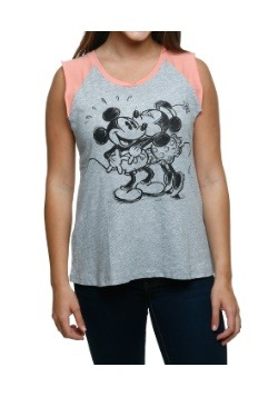 Mickey & Minnie Kiss Juniors Raglan Muscle Tank