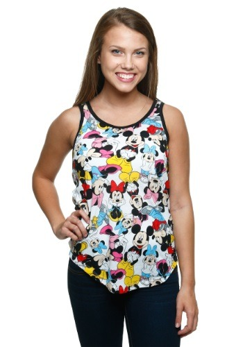 Womens Mickey & Minnie All Over Ringer Tank Top