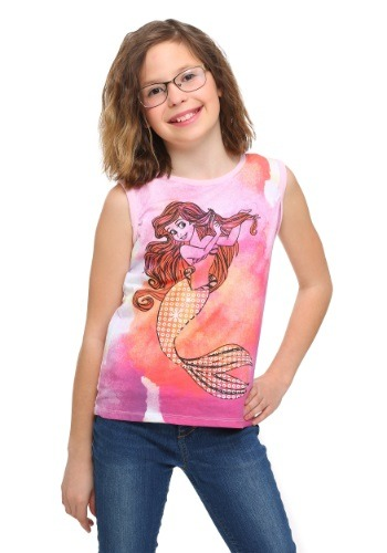 Little Mermaid Ariel Water Colors Girls Tank Top