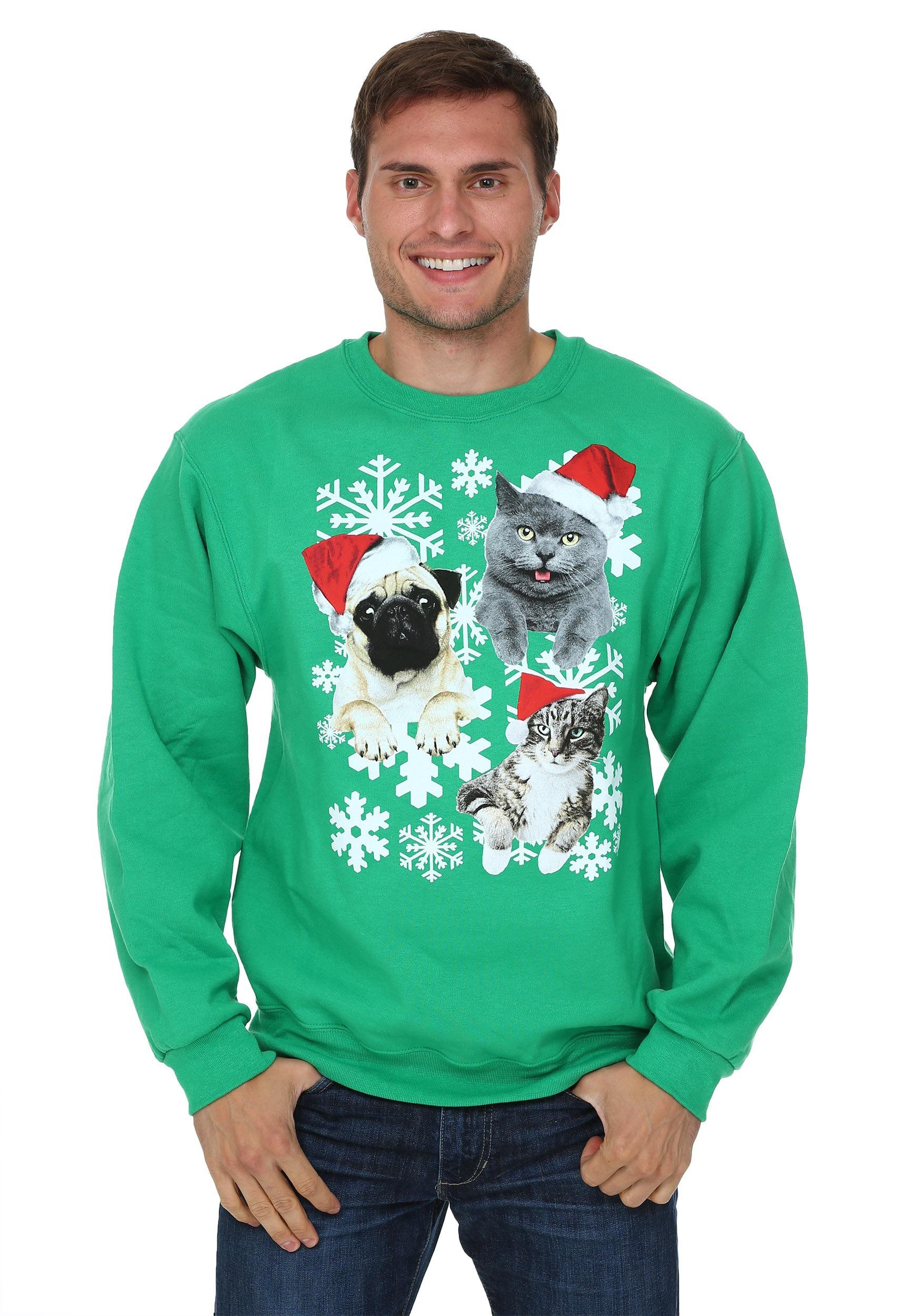 Santa kitties amp pug ugly christmas sweater