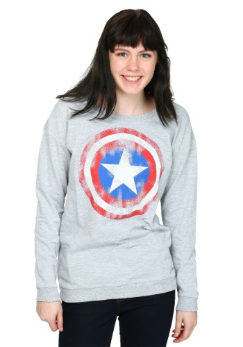 Womens Captain America Shield French Terry Pullover