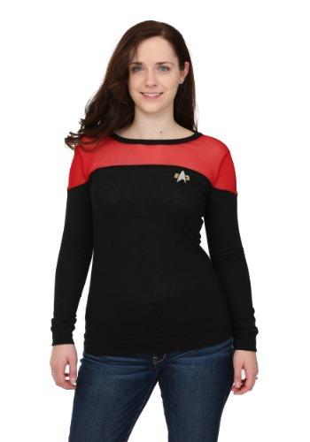Star Trek Juniors Sheer Yoke Red Sweater