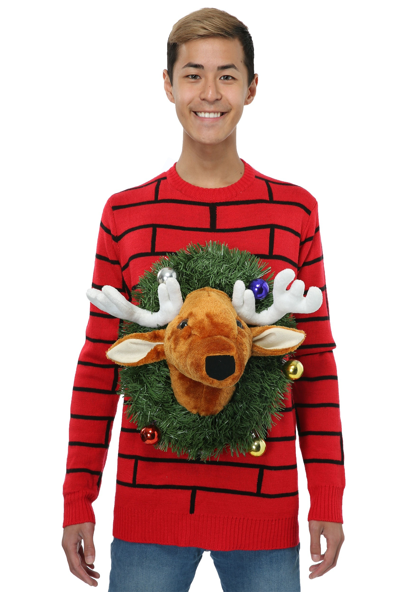 264836123a Reindeer Head Ugly Christmas Sweater