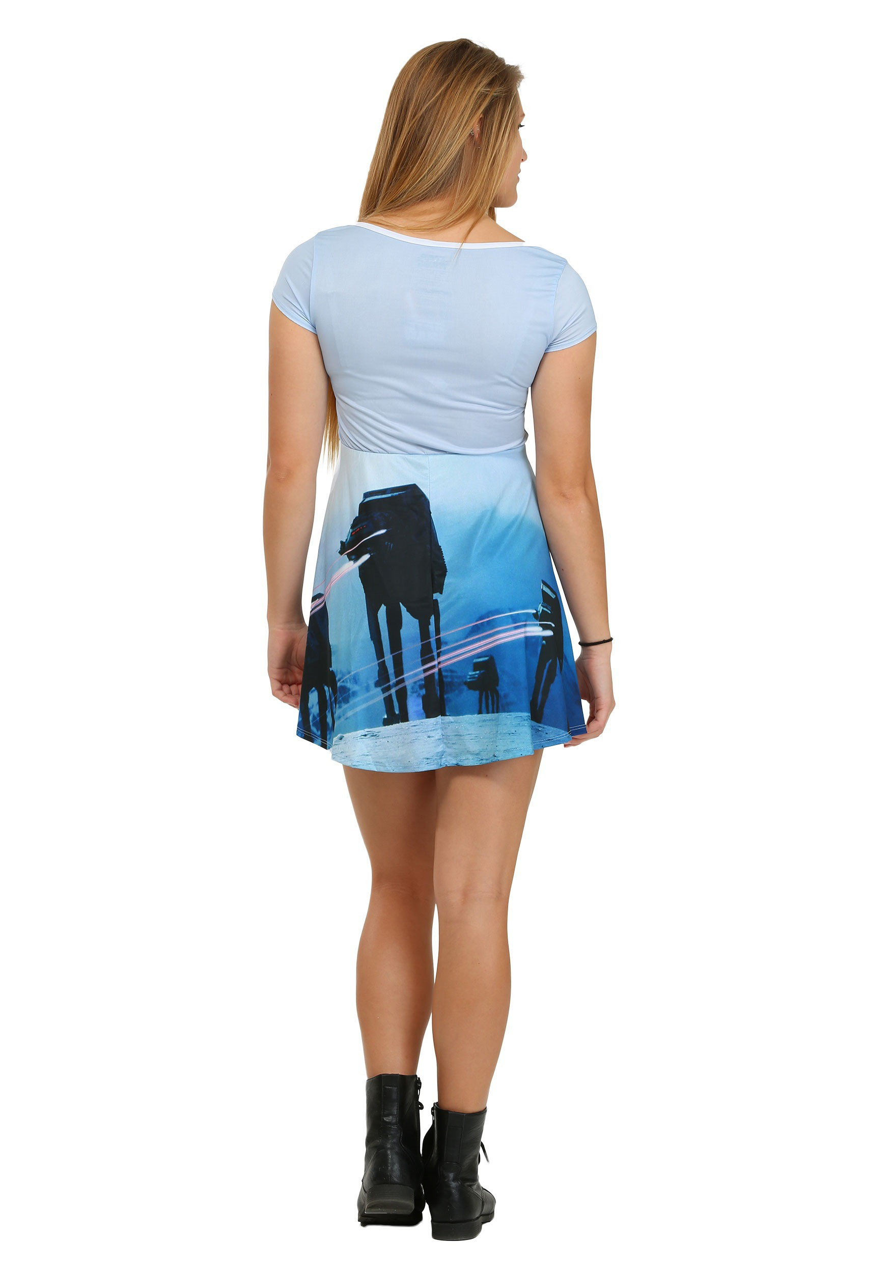 756344019f Star Wars Pew Pew AT-AT Juniors Skater Dress2