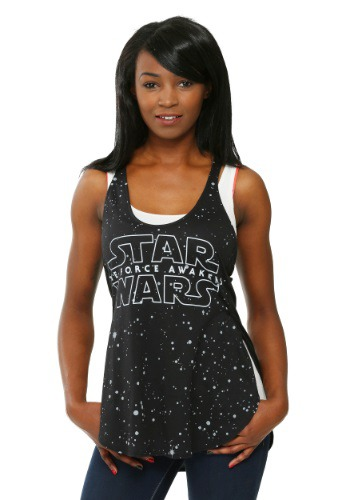 Womens Star Wars Force Awakens Star Background Racer Tank