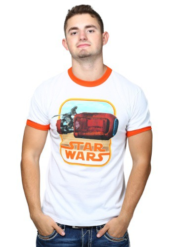 Star Wars 7 Rey Riding Orange Ringer T-Shirt
