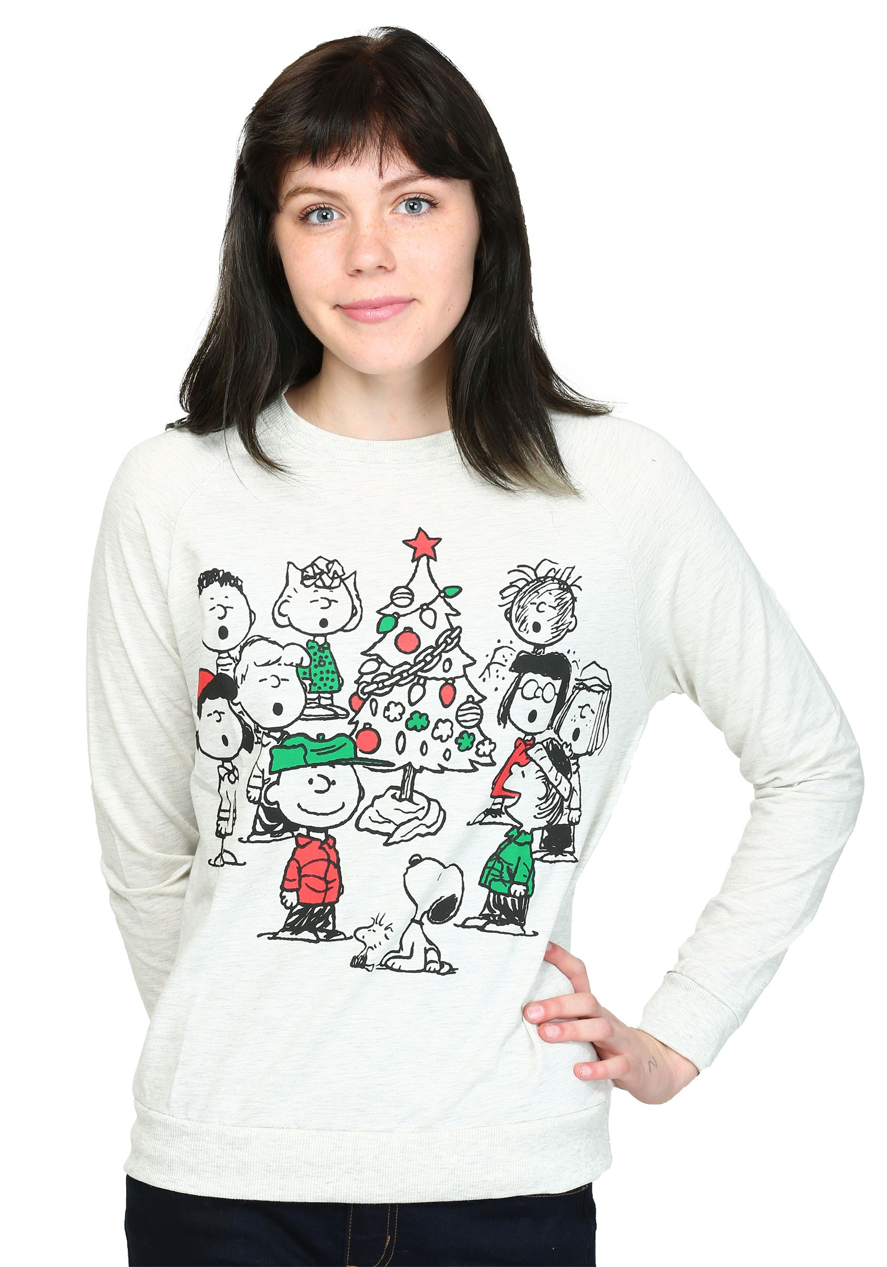 Womens Peanuts Christmas Gang French Terry Pullover