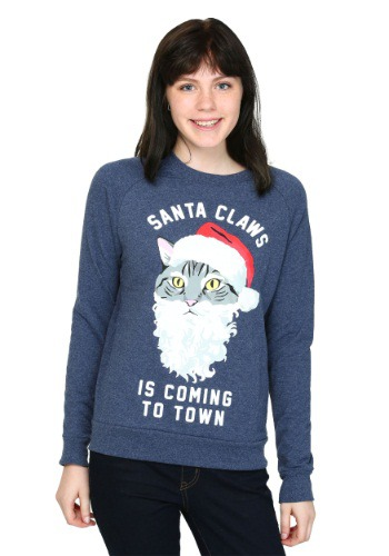 Womens Santa Claws Cat French Terry Pullover