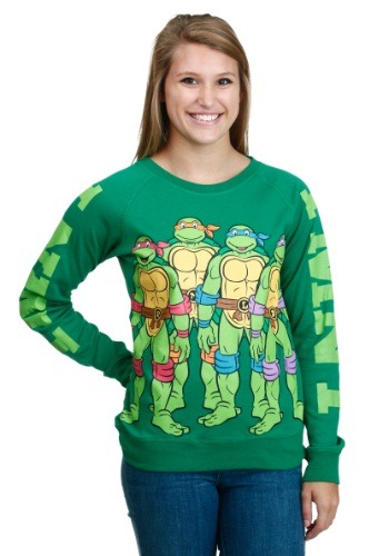 Women's TMNT Group Front Back Vintage Pullover