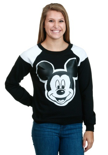 Womens Mickey Mouse Contrast Shoulder Pullover