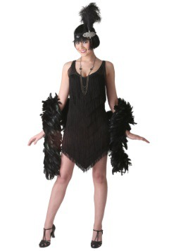 Women's Deluxe Black Flapper Costume