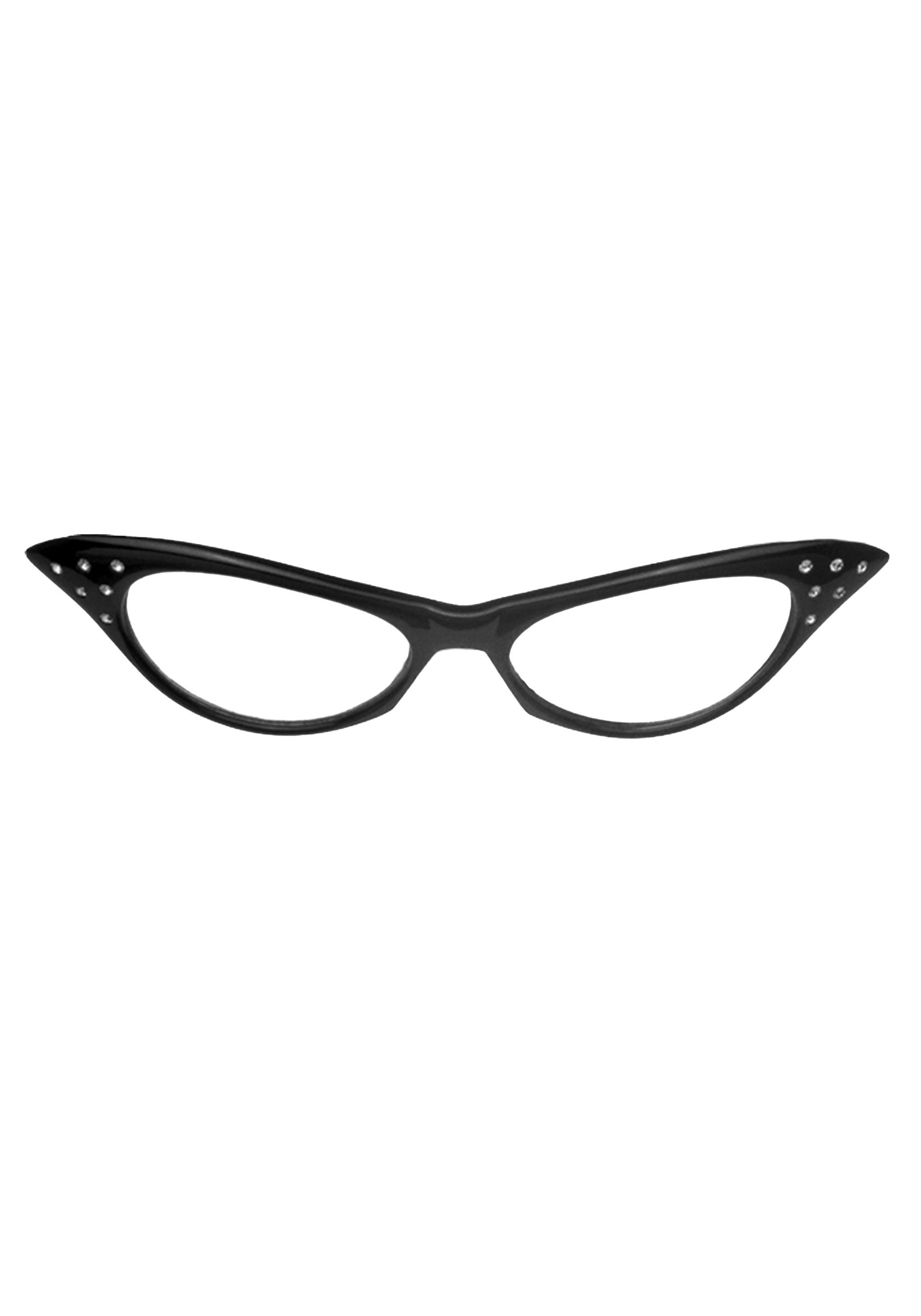 50s Retro Black Cat Eye Frame Glasses