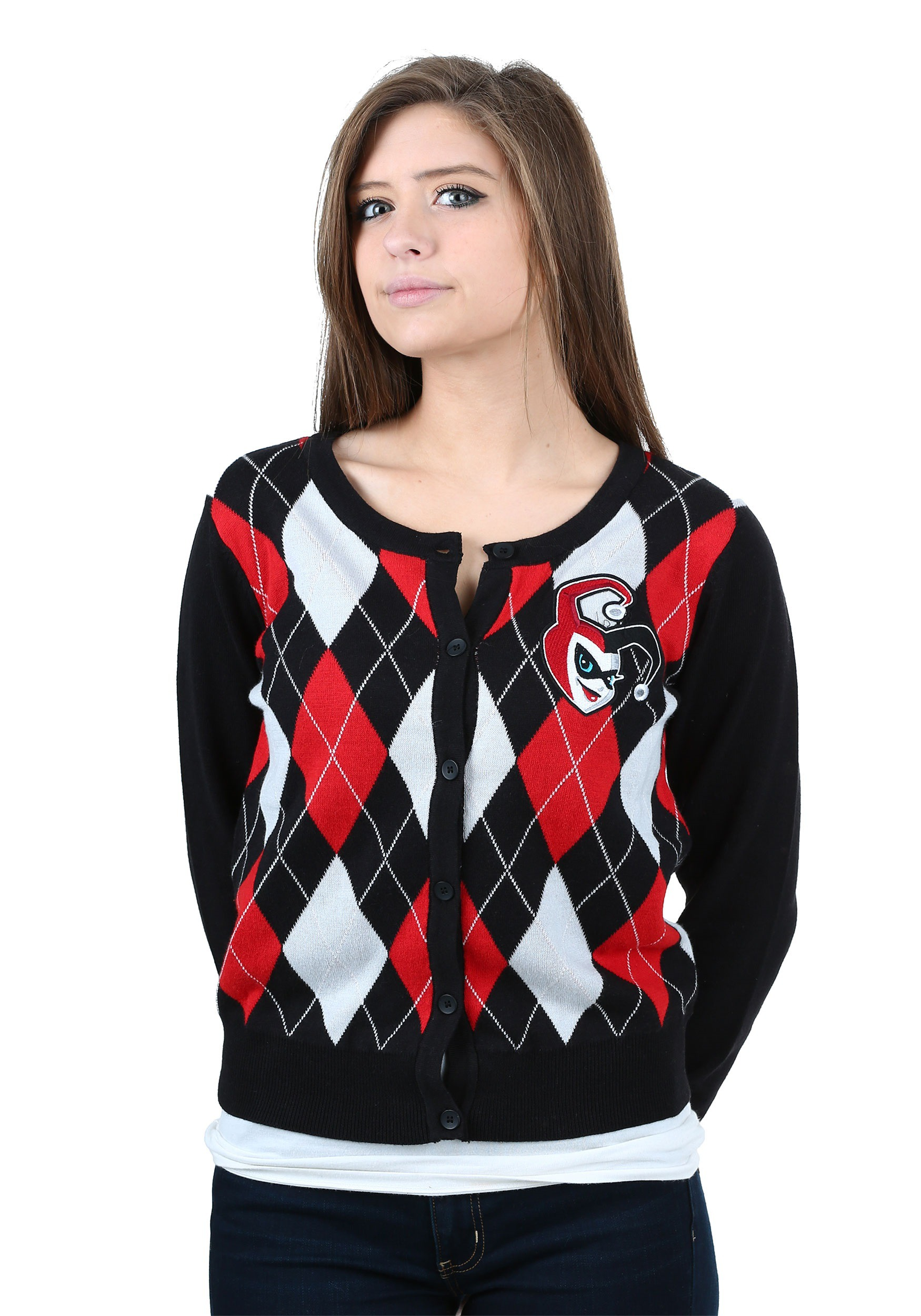 Womens Harley Quinn Cardigan Sweater