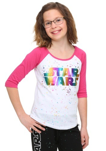 Star Wars Rainbow Foil Tween Raglan Shirt