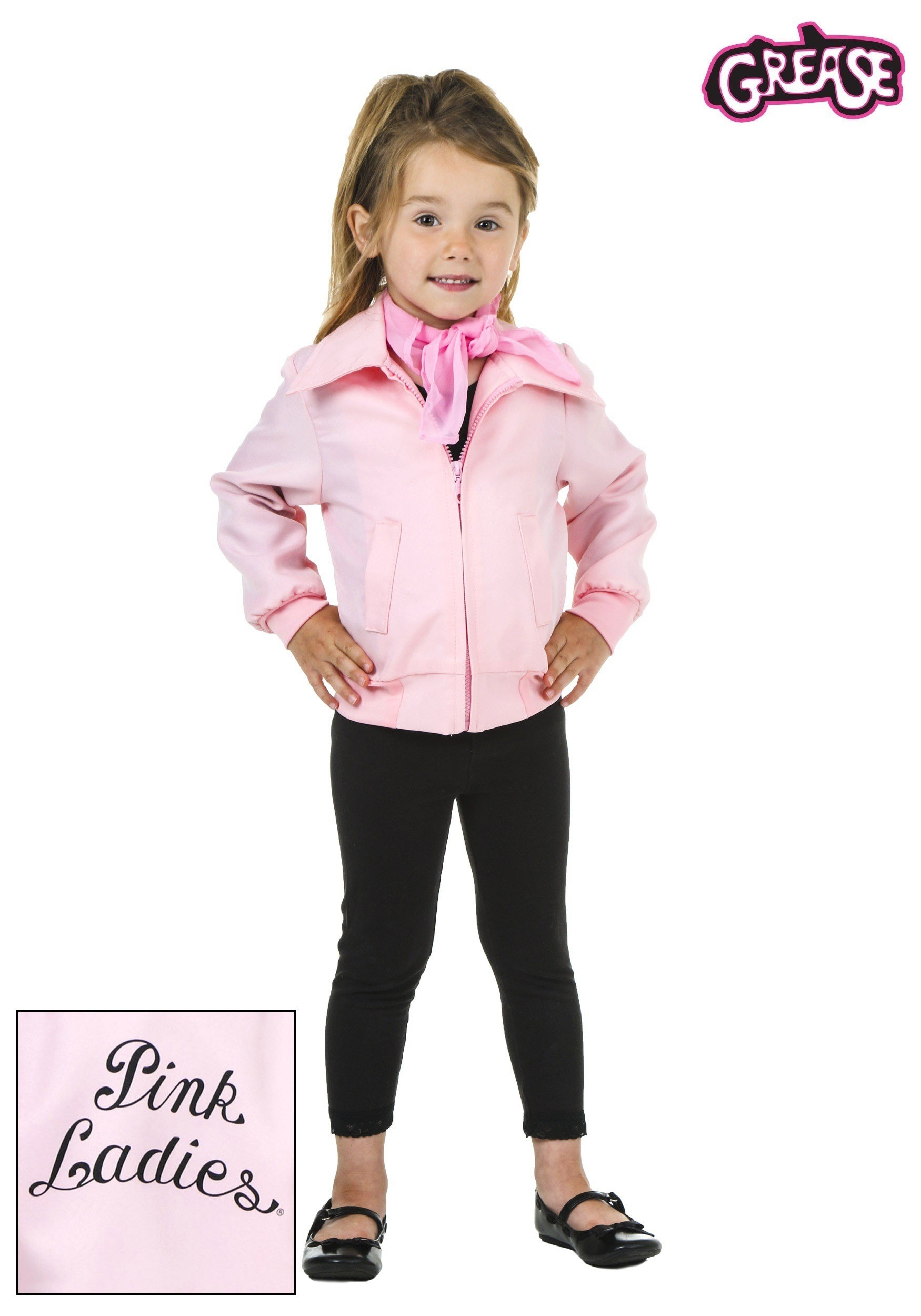 Deluxe Pink Ladies Jacket Costume For Toddlers