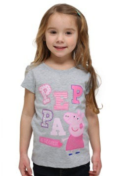 Girls Peppa Pig Glitter Letters Gray T-Shirt