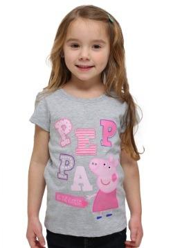 Girls Peppa Pig Glitter Letters Gray T-Shirt