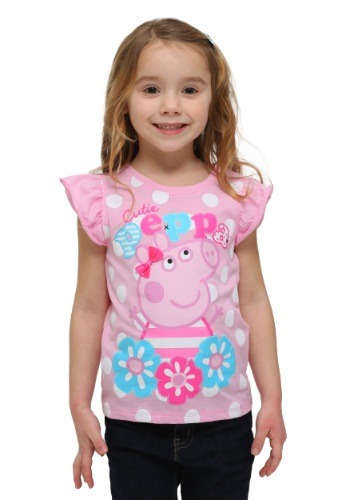 Toddler Peppa Pig Pink Ruffle Sleeve T-Shirt