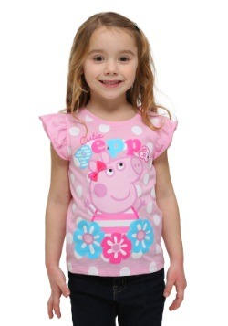 Toddler Peppa Pig Pink Ruffle Sleeve Cutie Peppa T-Shirt