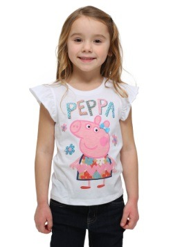 Peppa Pig White Ruffle Sleeve Toddler T-Shirt