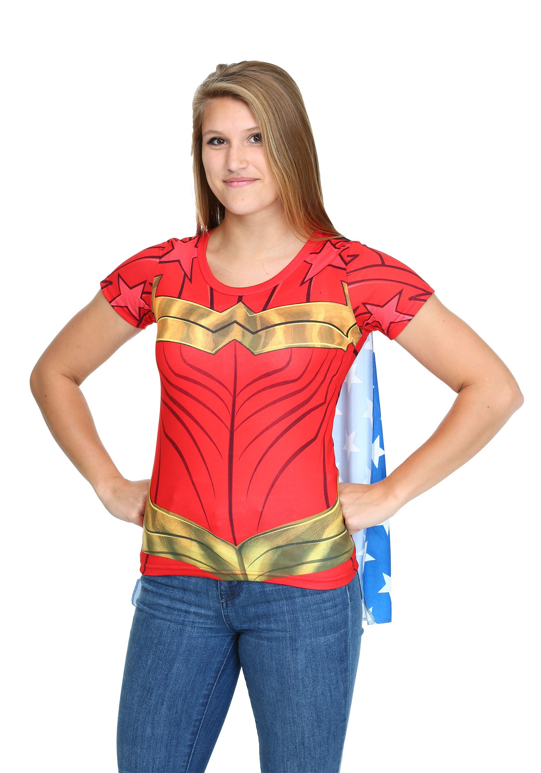 Wonder woman sublimated juniors caped t shirt for Wonder woman book shirt