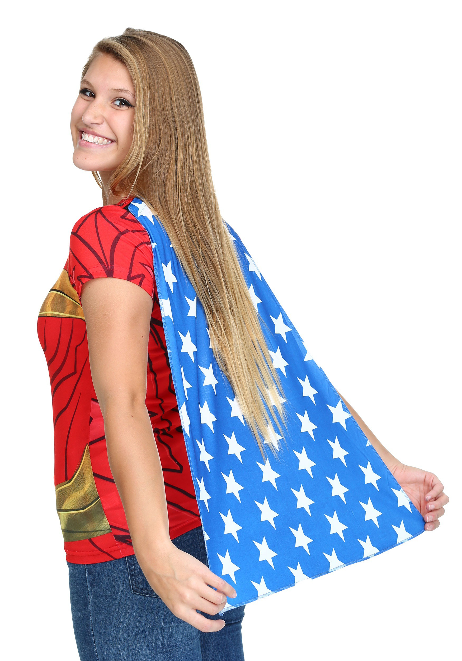 Wonder Woman Sublimated Juniors Caped T Shirt