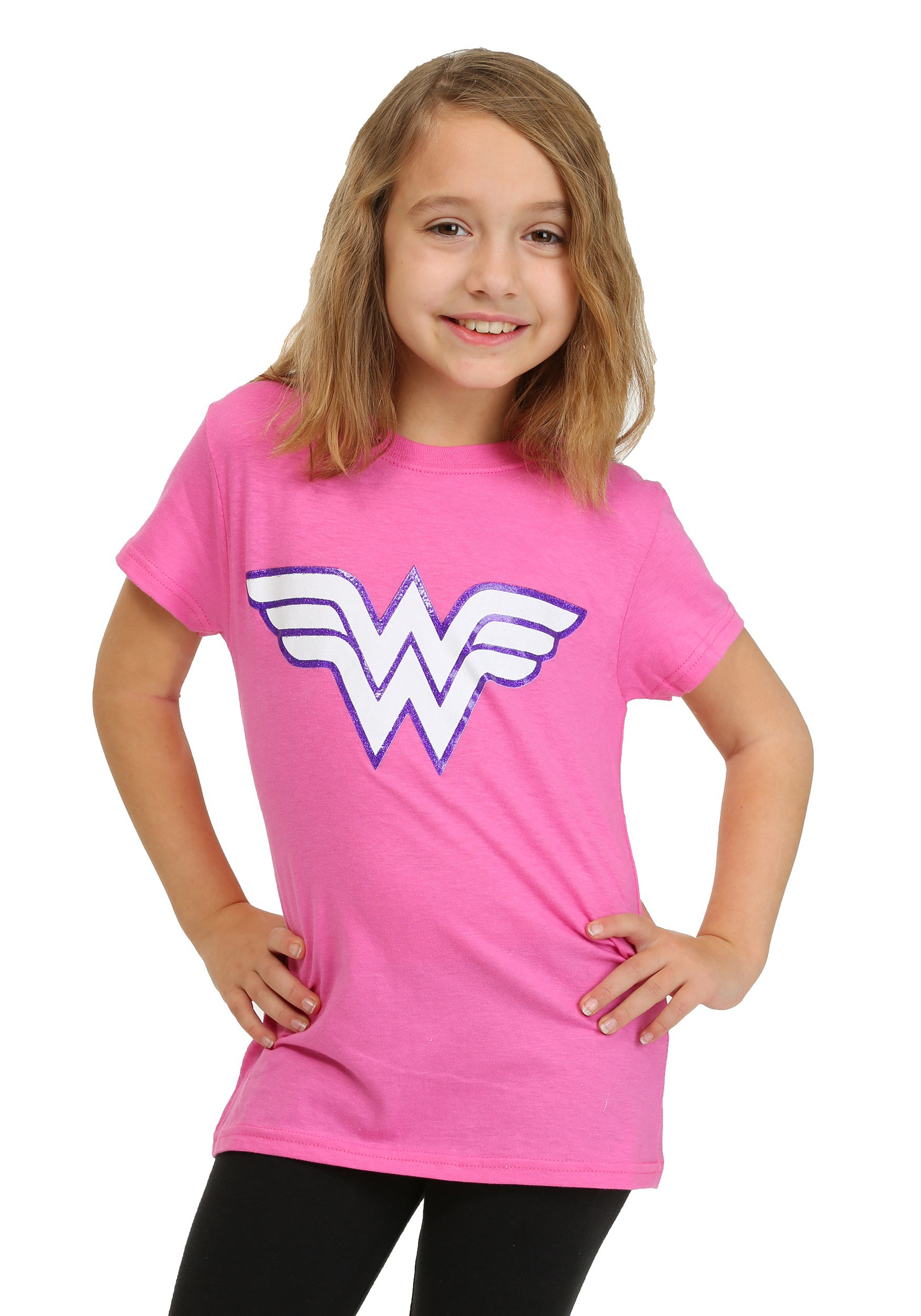 Girls Wonder Woman Pink Glitter Logo T Shirt