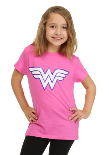 Girls Wonder Woman Pink Glitter Logo T-Shirt