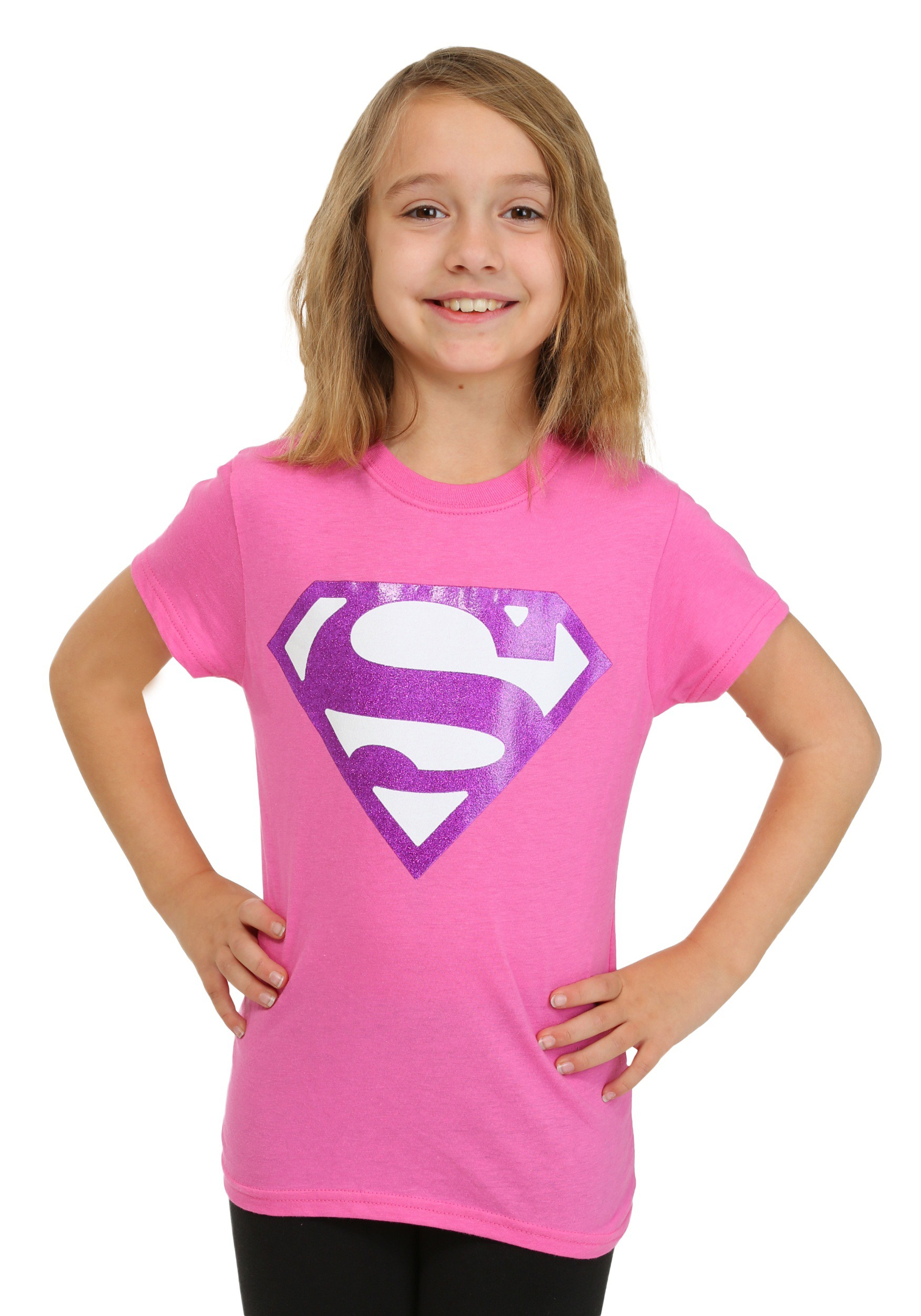 Girls Pink Glitter Superman Logo T Shirt