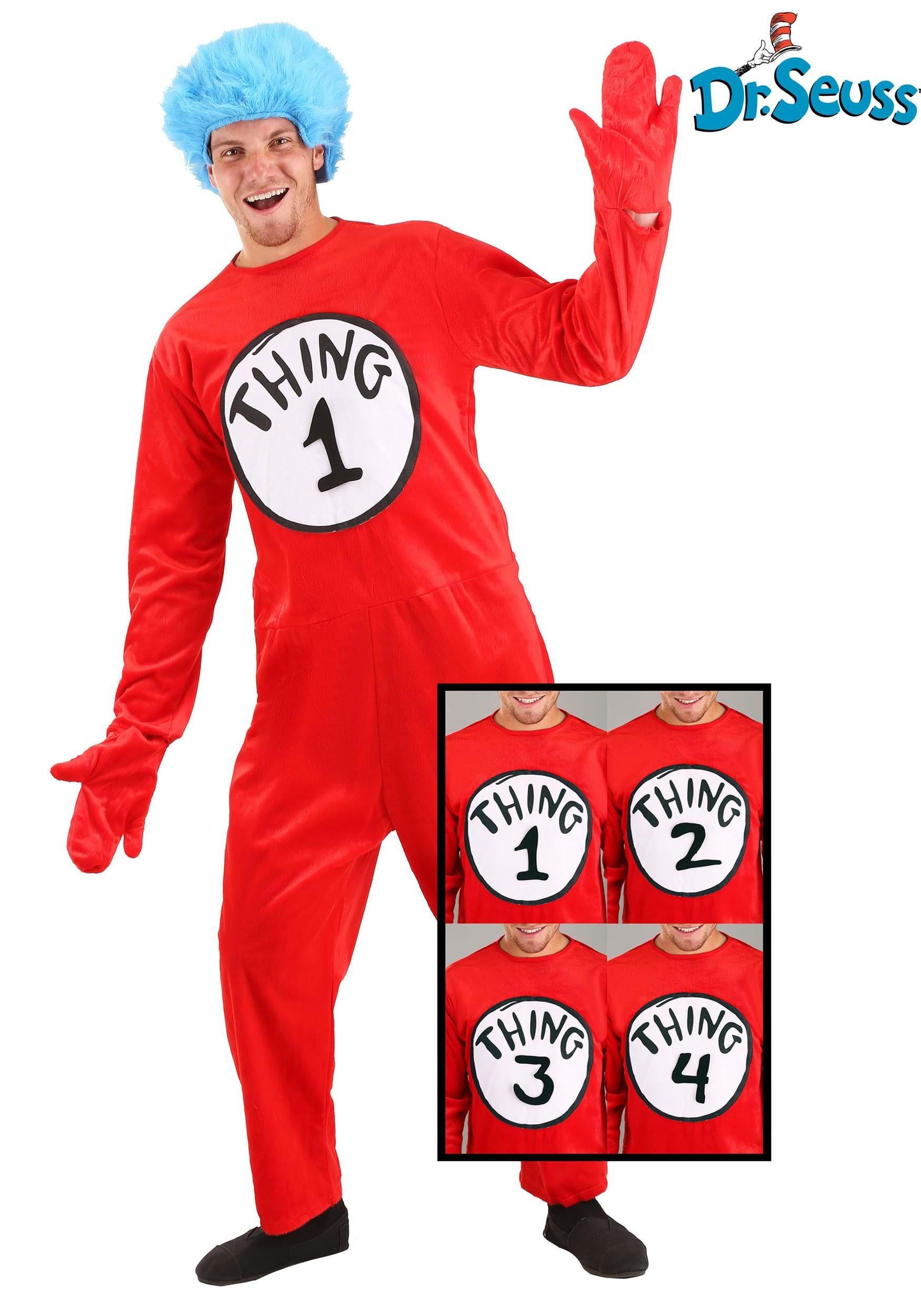 Thing 1 2 Socks Dr Seuss Cat Hat Fancy Dress Halloween Child Costume Accessory