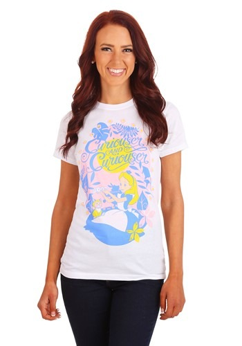 Alice In Wonderland Curiouser And Curiouser Junior T-Shirt