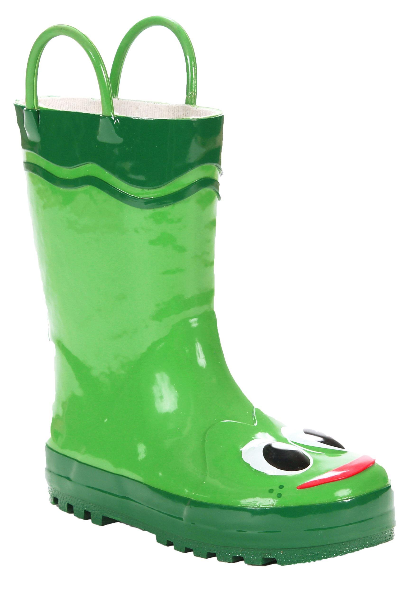 green frog child rain boots