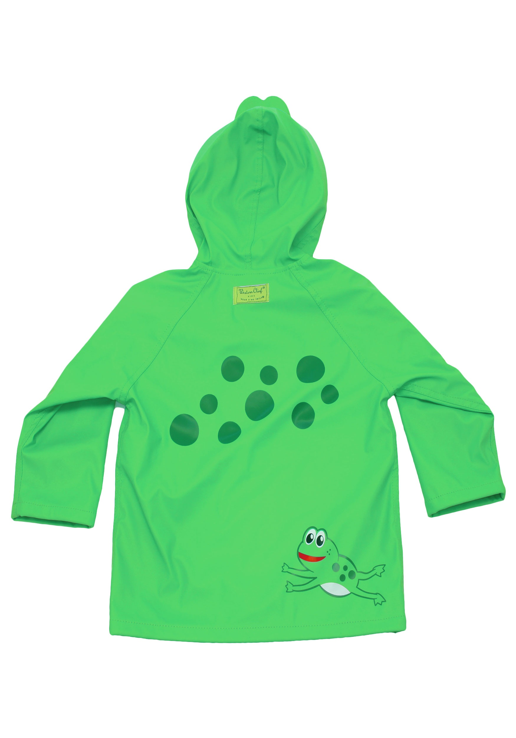 green frog child raincoat