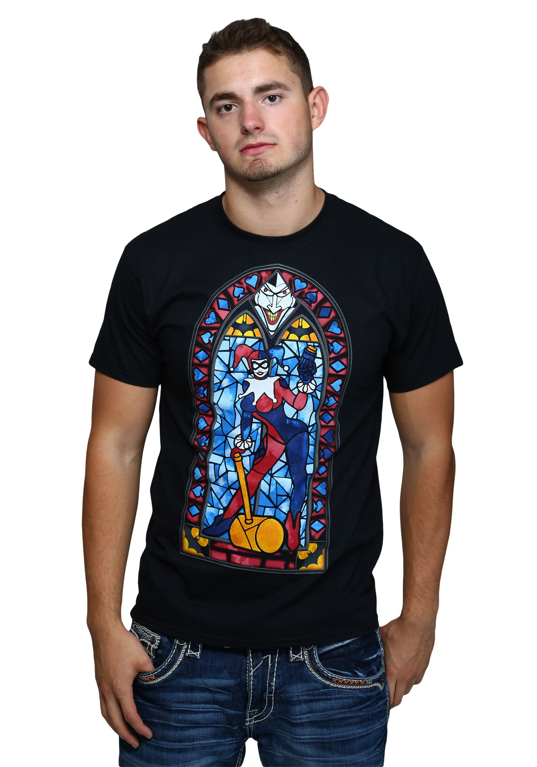 Harley quinn stained glass mens t shirt for Men s basketball t shirts