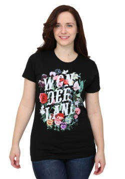 Alice In Wonderland Flowers Juniors T-Shirt