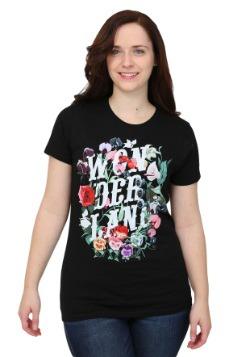 Alice In Wonderland Flowers Juniors T-Shirt