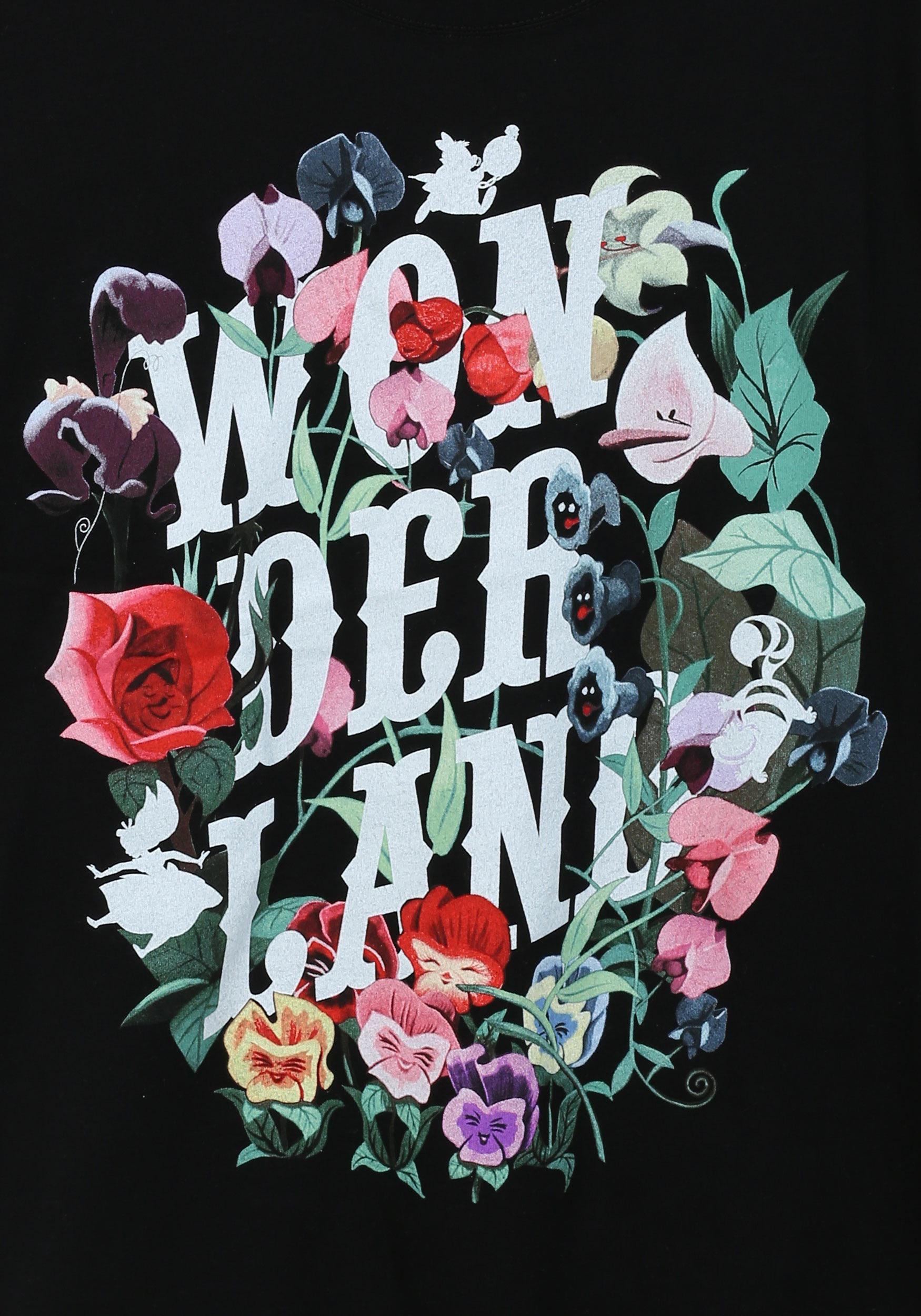 Alice In Wonderland Flowers Womens T Shirt