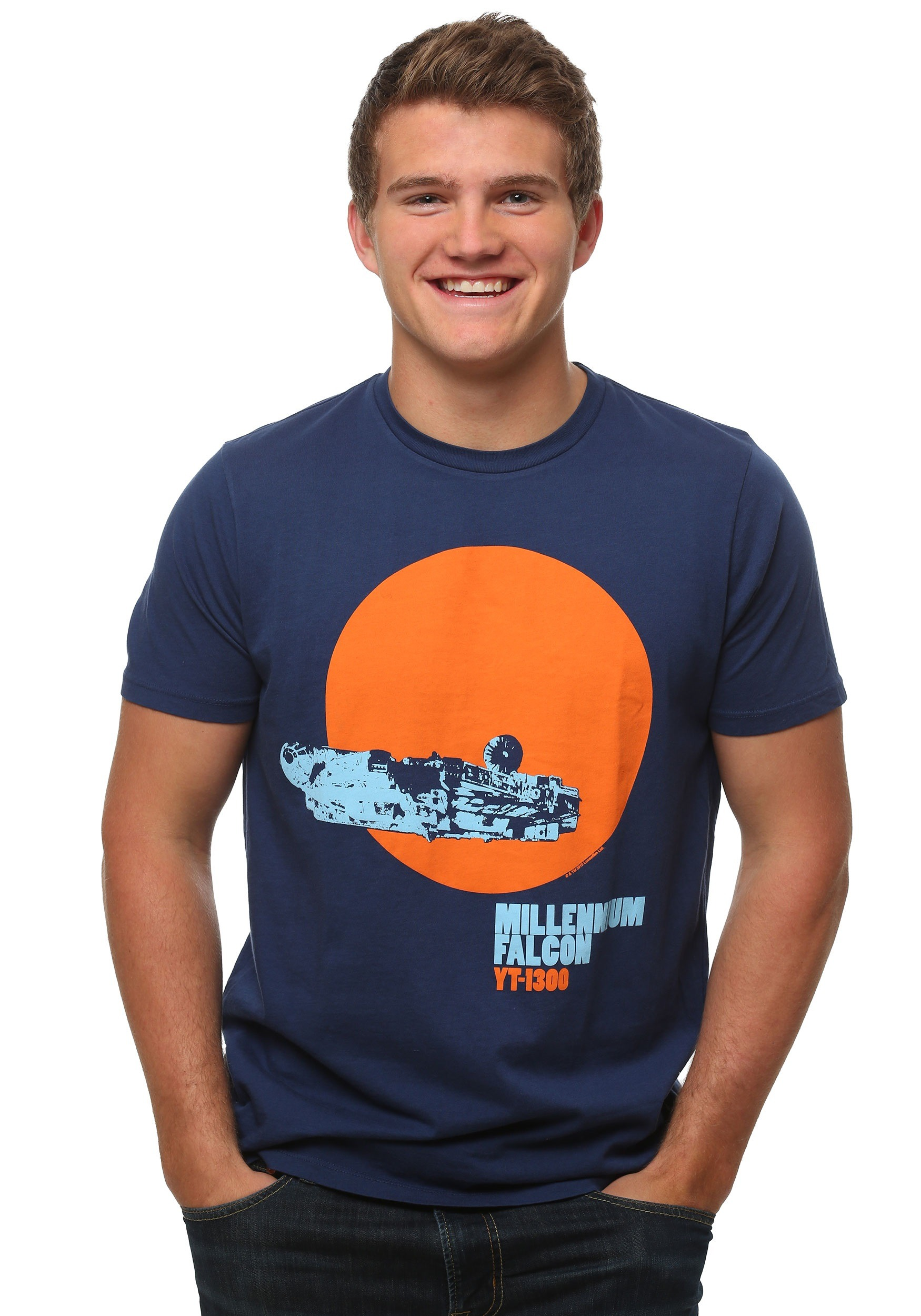 be00adc5 Mens Star Wars Millennium Falcon T Shirt Blue | Toffee Art